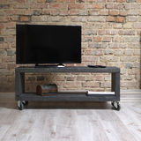 Modern wooden tv unit in the loft interior Stock Photo