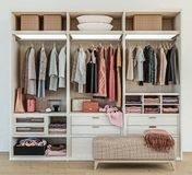 Modern wooden wardrobe with clothes hanging on rail in walk in closet design interior. 3d rendering, tidily packed, Scandinavian Style stock photography