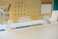 The wooden work desk. The modern wooden work desk stock photo