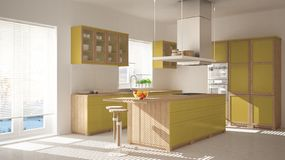 Modern wooden and yellow kitchen with island, stools and windows, parquet herringbone floor, architecture minimalistic interior de. Sign stock photography
