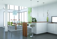 Modern woodn kitchen interior design illustration. 3d Illustration of a modern woodn kitchen interior design Royalty Free Stock Images
