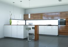 Modern woodn kitchen interior design illustration. 3d Illustration of a modern woodn kitchen interior design Stock Photography