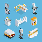 Modern Woodworking Machinery Isometric Set. Modern automated woodworking machinery set of equipment for grinding drilling clipping cutting  isometric vector Stock Photography