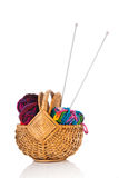 Modern wool in basket with needles Stock Image