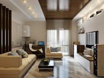 Modern woonkamer binnenlands ontwerp Stock Foto