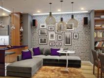 Modern woonkamer en keuken binnenlands ontwerp in grijze kleuren Royalty-vrije Stock Foto's