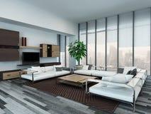 Modern woonkamerbinnenland met houten kabinetten royalty-vrije stock afbeeldingen