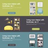 Modern woonkamerbinnenland met reeks van de boekenkast de horizontale vlakke banner Stock Foto's