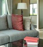 Modern woonkamerontwerp met rode hoofdkussens op bank en lamp Royalty-vrije Stock Foto's