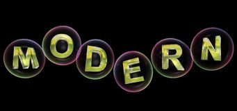 Modern word in bubble. Modern word in soap bubble on black background,3d rendered Stock Photo
