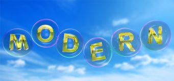 Modern word in bubble. Modern word in soap bubble on blue sky background,3d rendered Royalty Free Stock Photos