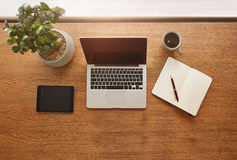 Modern work desk from above Royalty Free Stock Photo