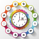Modern work time management planning. Colorful infographics. Vector illustration Stock Images