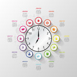 Modern work time management planning infographics Royalty Free Stock Images