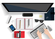 Modern Working place illustration. Flat design illustration concept for working place at office, workspace Stock Images