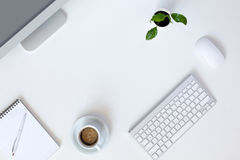 Modern working Place on White Office Desk royalty free stock photos