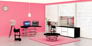 Modern working room interior, 3 black desktop computer put on a glass table in front of pink wall vector illustration