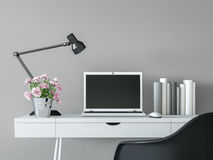 Modern working room interior with black & white minimal style 3d rendering image Stock Photo
