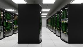 Modern working server room with rack servers stock video footage