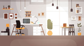 Modern Workplace Cabinet Room Interior Empty No People House. Flat Vector Illustration Royalty Free Stock Photography