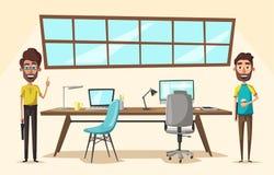 Modern workplace. Creative character. Office work. Cartoon vector illustration Stock Photos
