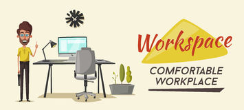 Modern workplace. Creative character. Office work. Cartoon vector illustration Royalty Free Stock Photo