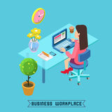 Modern Workplace. Isometric Office. Businesswoman at Work Royalty Free Stock Images