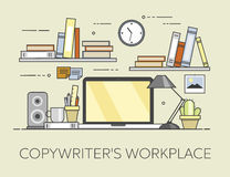 Modern workplace in office. Cozy home office interior. Copywriter s workplace Stock Photo