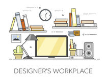 Modern workplace in office. Cozy home office interior. Designer s workplace. Flat vector illustration. Concept picture of workplace Royalty Free Stock Images