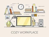 Modern workplace in office. Cozy home office interior. Flat  illustration. Concept picture of workplace Stock Images