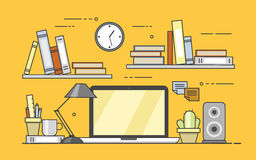 Modern workplace in office. Cozy home office interior. Flat vector illustration. Concept picture of workplace Royalty Free Stock Photos