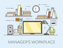 Modern workplace in office. Cozy home office interior. Managre s workplace. Flat vector illustration. Concept picture of workplace Stock Photo