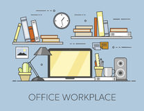 Modern workplace in office. Cozy home office interior. Offiice workplace Royalty Free Stock Images
