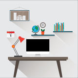 Modern workplace in room or office Illustration vector eps10 Royalty Free Stock Photography