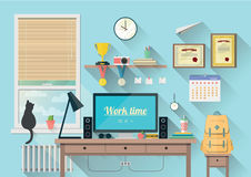 Modern workplace in room. Vector illustration of  modern workplace in room. Creative office workspace with equipment, elements, objects. Flat minimalistic style Royalty Free Stock Photography