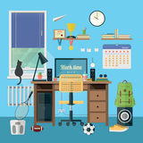 Modern workplace in room. Vector illustration of  modern workplace in room. Creative office workspace with equipment, elements, objects. Flat minimalistic style Royalty Free Stock Image