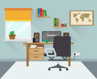 Modern workplace in room. Workspace creative theme. vector illustration