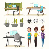 Modern workplaces. Creative characters. Office work. Cartoon vector illustration. Designer workspace. Furniture in interior. For web and banner Royalty Free Stock Image