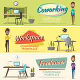 Modern workplaces. Creative characters. Office work. Cartoon vector illustration. Designer workspace. Furniture in interior. For web and banner Stock Photography
