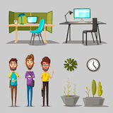 Modern workplaces. Creative characters. Office work. Cartoon vector illustration. Designer workspace. Furniture in interior. For web and banner Stock Image