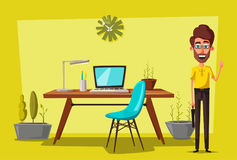 Modern workplaces. Creative characters. Office work. Cartoon vector illustration. Designer workspace. Furniture in interior. For web and banner Royalty Free Stock Images
