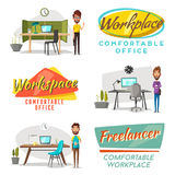 Modern workplaces. Creative characters. Office work. Cartoon vector illustration. Designer workspace. Furniture in interior. For web and banner Royalty Free Stock Photo