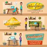 Modern workplaces. Creative characters. Office work. Cartoon vector illustration. Designer workspace. Furniture in interior. For web and banner Stock Photo
