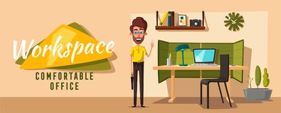 Modern workplaces. Creative characters. Office work. Cartoon vector illustration. Designer workspace. Furniture in interior. For web and banner Royalty Free Stock Photography