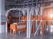 Modern workshop at the plant for the production of food flour from grain, production breadstuff. S stock photos