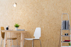 Modern workshop with wooden wall Stock Image