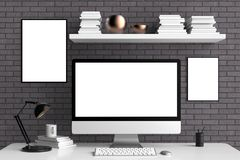 Modern workspace,  computer screen and frame mock up. 3D. Illustrating Royalty Free Stock Photos