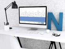 modern workspace 3d med datoren vektor illustrationer