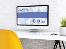 modern workspace 3d med datoren royaltyfri illustrationer