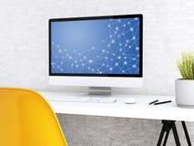modern workspace 3d med datoren stock illustrationer